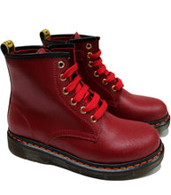 Load image into Gallery viewer, Lace up boots in deep red leather