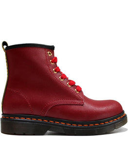 Lace up boots in deep red leather