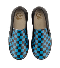 Load image into Gallery viewer, Black & blue leather slip-on