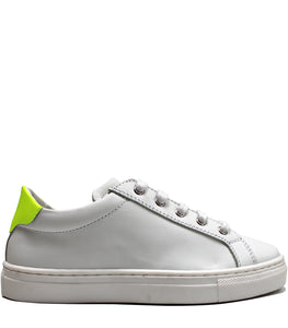 White leather sneakers with fluo details