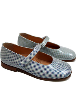 Checkered ballerina blue & white leather