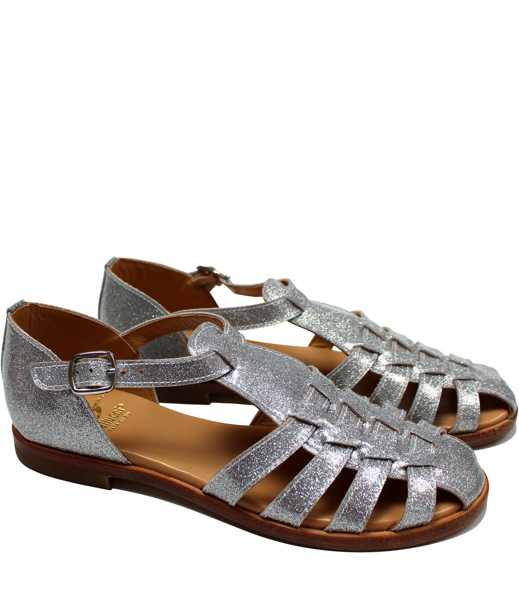 Glitter sandals in silver leather