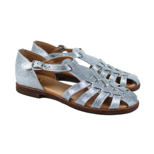Sandals in silver leather