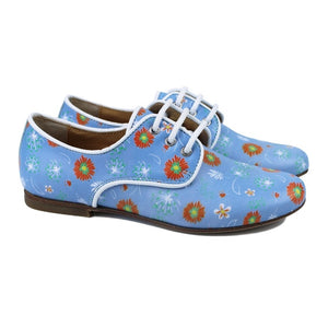 Blue derby with iconic flower print