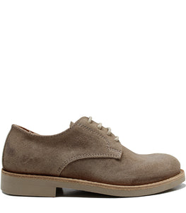 Natural derby in taupe suede