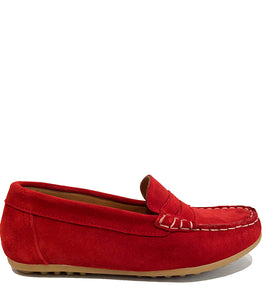 Red loafers in suede with contrast stitching