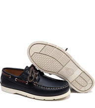 Load image into Gallery viewer, Blue boat shoes in calf leather