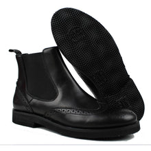 Load image into Gallery viewer, Brogue Chelsea boots in black calf and light rubber sole