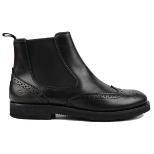 Brogue Chelsea boots in black calf and light rubber sole