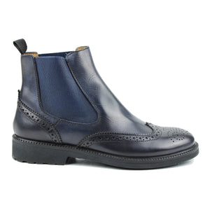 Brogue Chelsea boots in navy calf