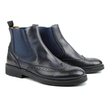 Load image into Gallery viewer, Brogue Chelsea boots in navy calf