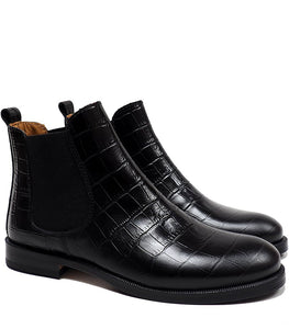 Chelsea Boots in Black Crocodile Effect Leather