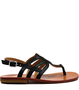 Elegant cut-out sandals in black leather