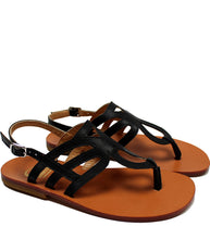 Load image into Gallery viewer, Elegant cut-out sandals in black leather