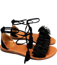 Load image into Gallery viewer, Fringe sandals in black suede