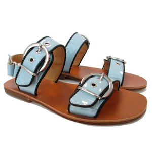 Bold Sandals in light blue leather and double big buckles