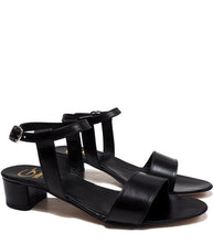 Load image into Gallery viewer, Heeled Sandals in Black Calf Leather