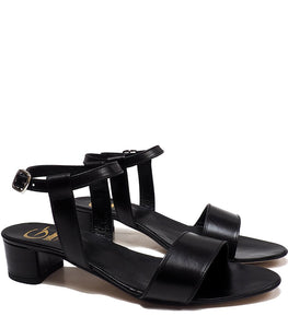 Heeled Sandals in Black Calf Leather