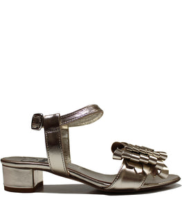 Block heel metallic sandals in calf leather