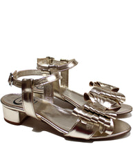 Load image into Gallery viewer, Block heel metallic sandals in calf leather