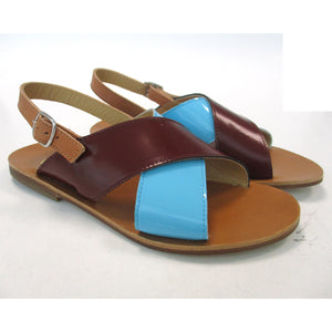 Sandals in blue, burgundy and tan leather
