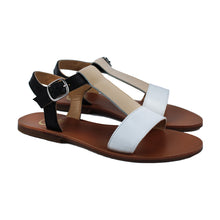 Load image into Gallery viewer, Sandals in beige, white and black leather