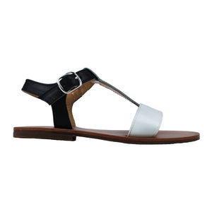 Sandals in beige, white and black leather