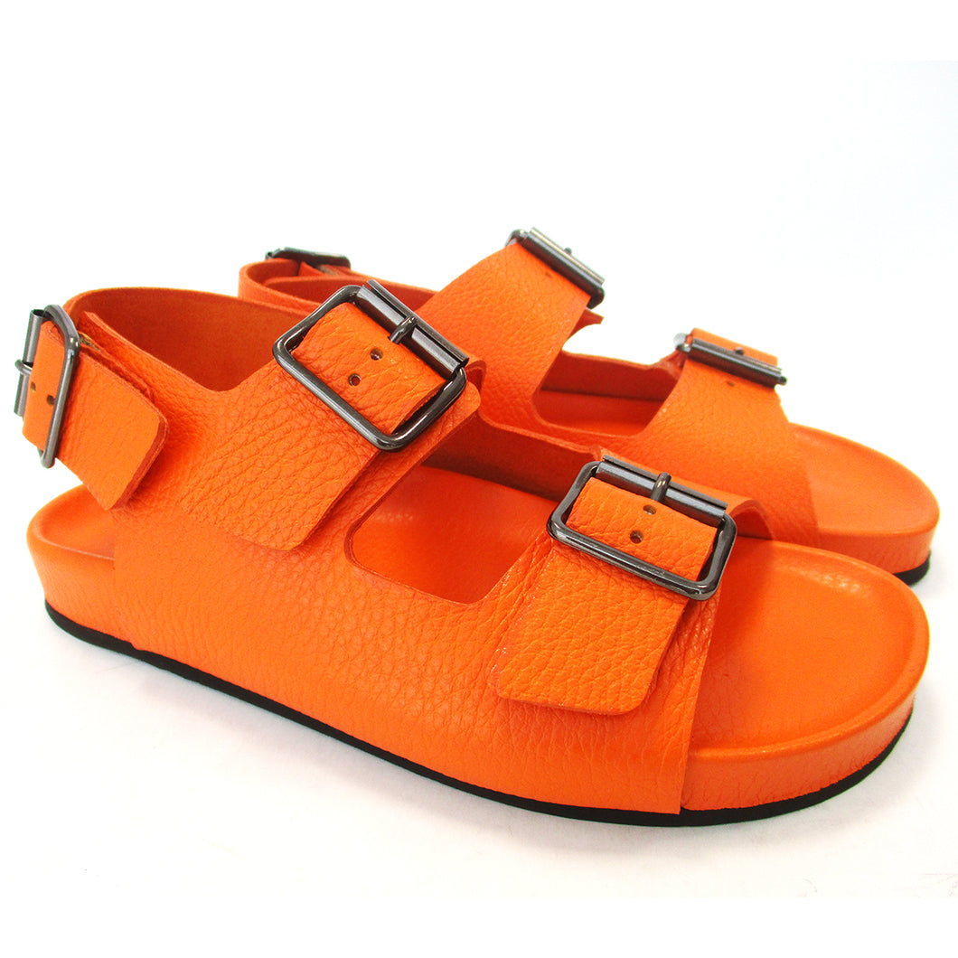 Orange double buckle sandal with back strap