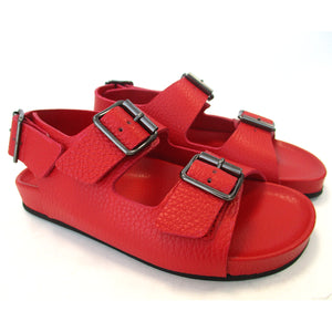 Red double buckle sandal with back strap
