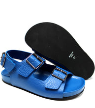 Load image into Gallery viewer, Full blue leather sandals