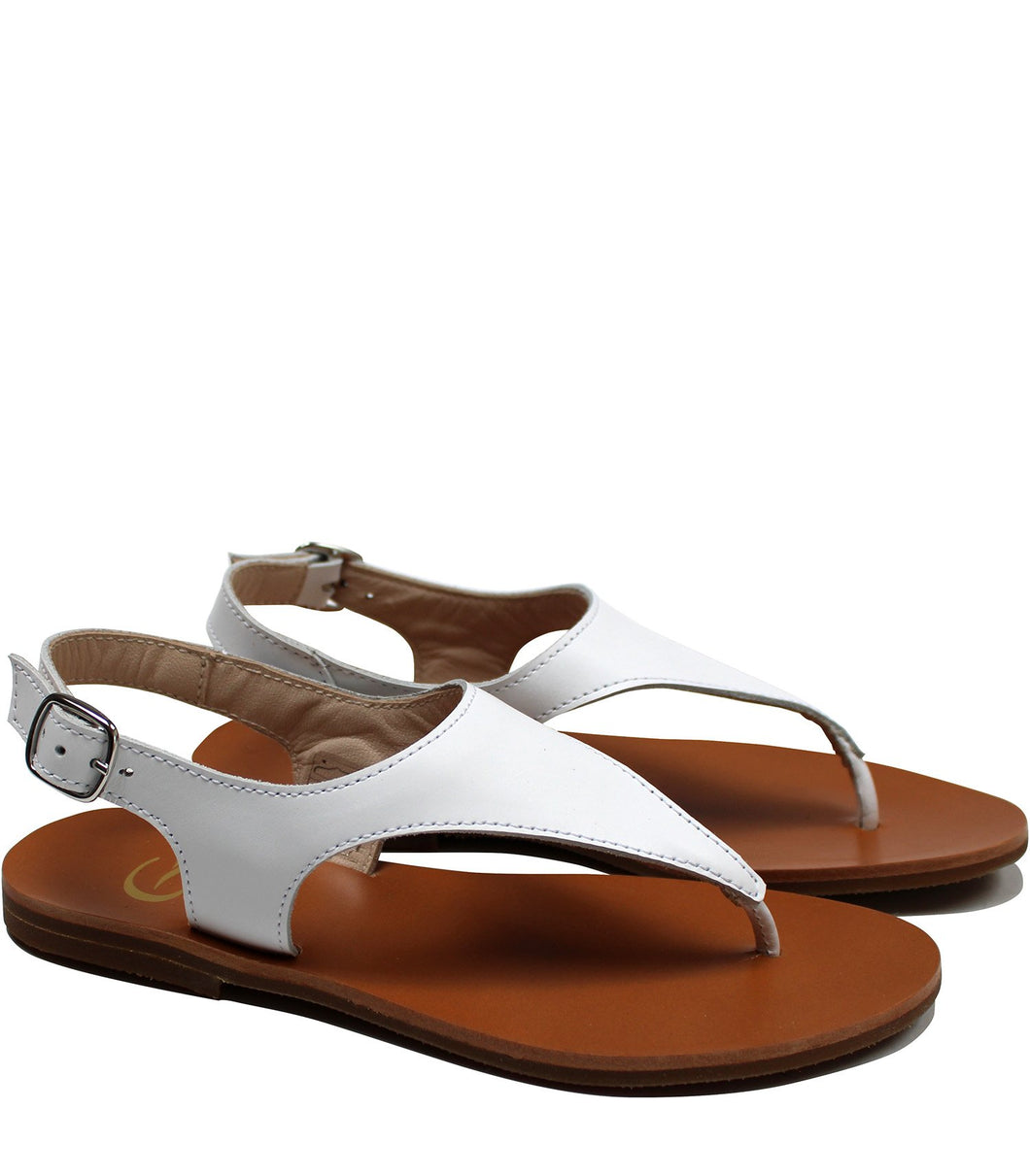 White leather sandals