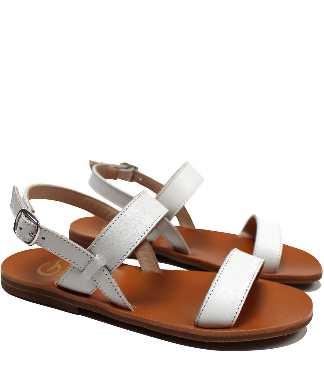 White sandals in calf leather