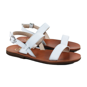 Sandals in white leather