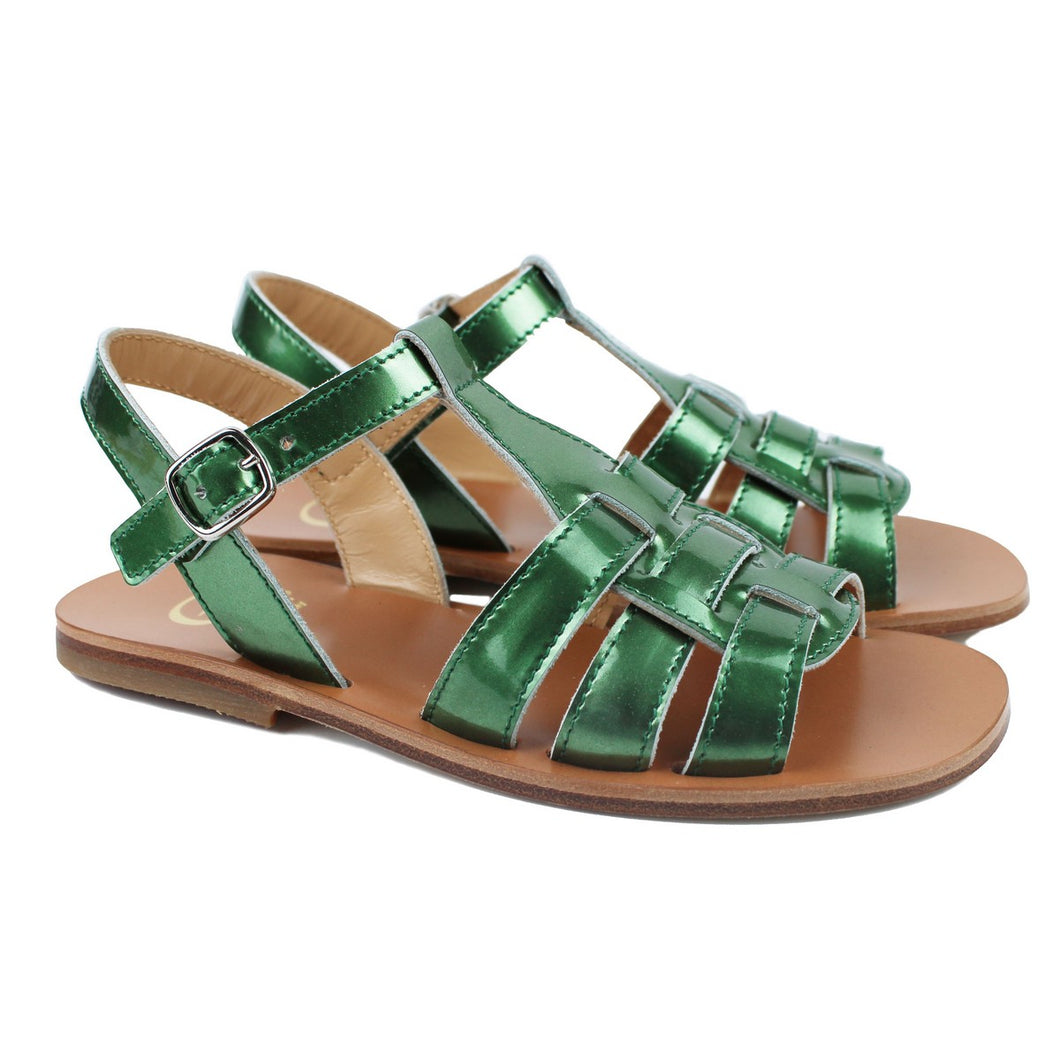 Sandals in laminated green leather