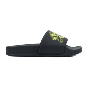 Black Sliders with iconic yellow Gallucci Love print
