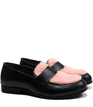 Load image into Gallery viewer, Penny loafer with pink fluffy details and black calf leather