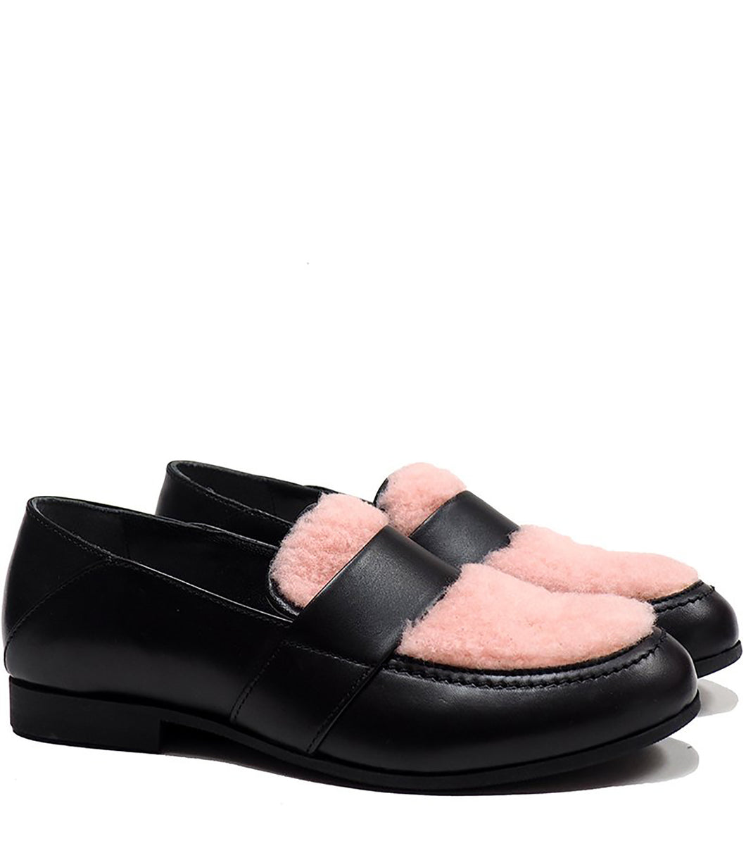 Penny loafer with pink fluffy details and black calf leather