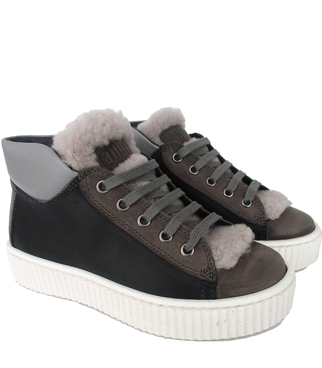 High-Top Sneakers in Black and Grey Calf Leather with Fur