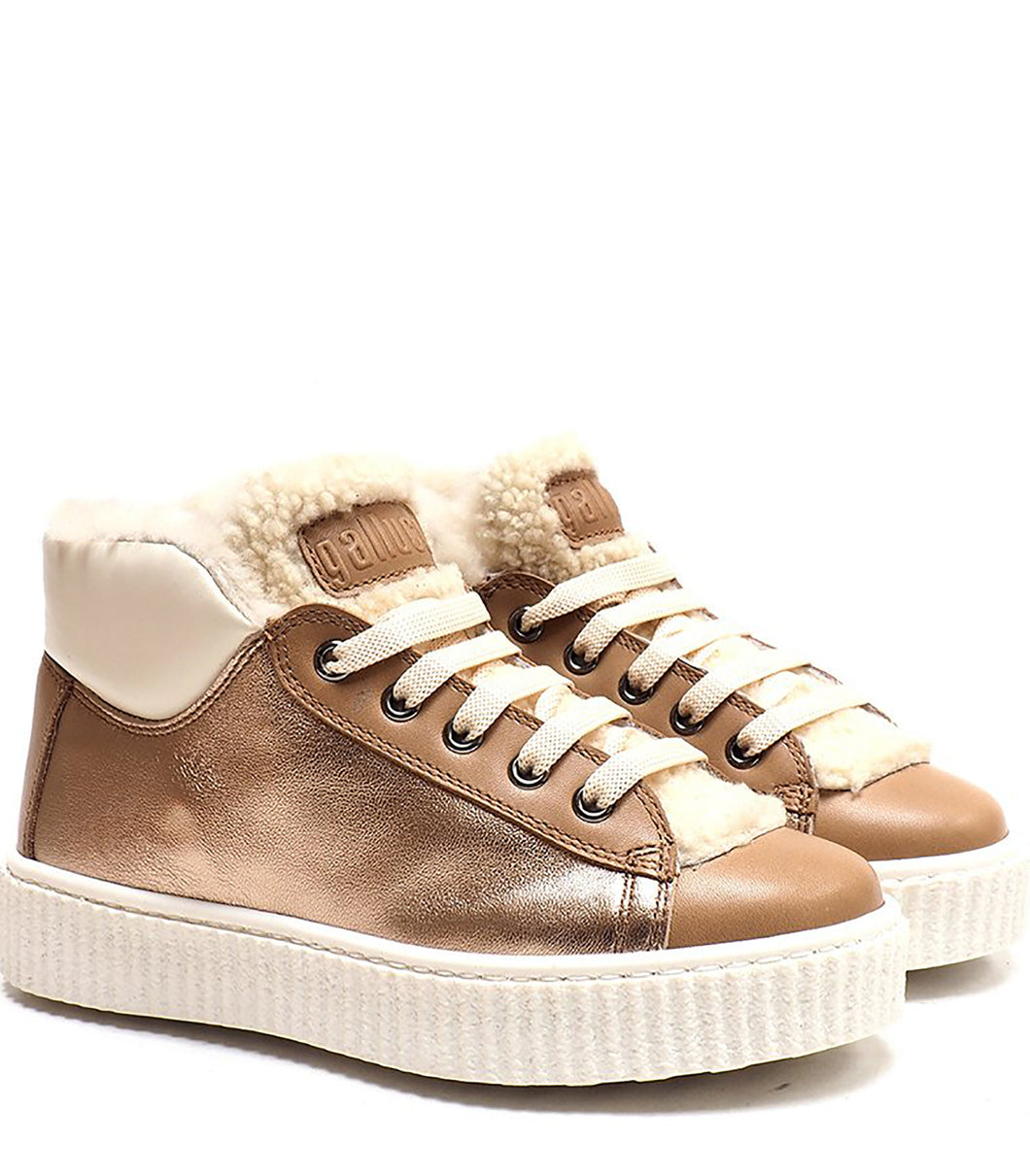 High-Top Sneakers in Metallic Effect Pink Leather and Beige and White Calf Leather with Fur