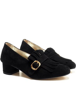 Single buckles shoes with fringes and heel in black suede