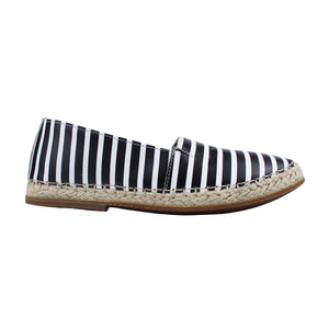 Espadrillas in striped black/white leather with rubber soles
