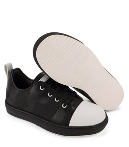 Black and white leather sneakers