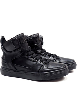 High-top sneakers in black calf leather