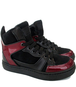 High-Top Sneakers in Black Leather & Bordeaux Patent Leather