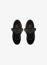Load image into Gallery viewer, High-Top Sneakers in Black Velour and Black Elk Leather