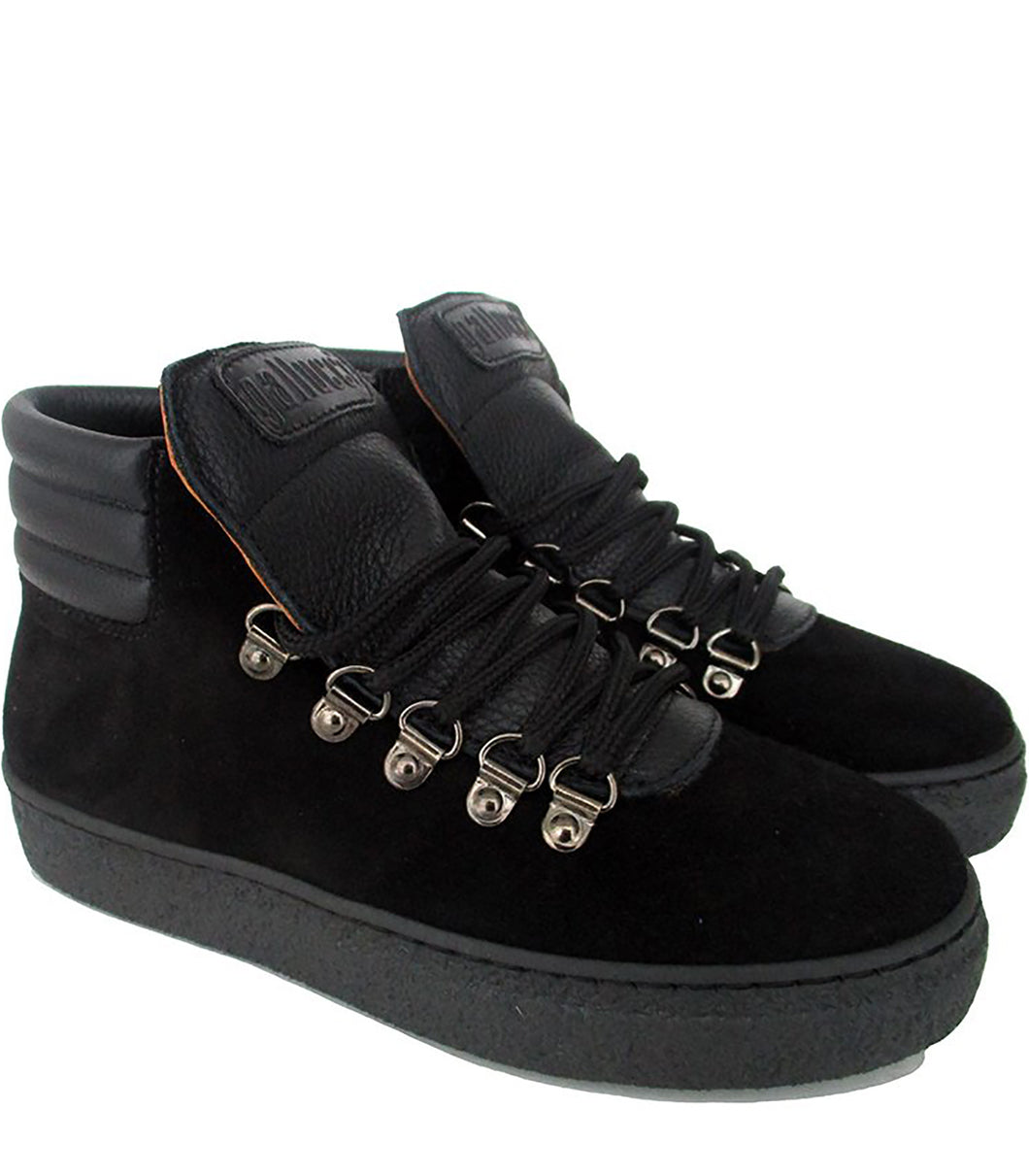 High-Top Sneakers in Black Velour and Black Elk Leather