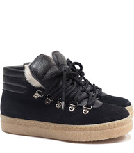 Load image into Gallery viewer, High-top sneakers in black velour with fur
