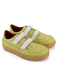 Load image into Gallery viewer, Green leather sneakers with amber sole