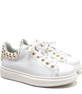 Low-Top Sneakers in Calf Leather with Gold Studs