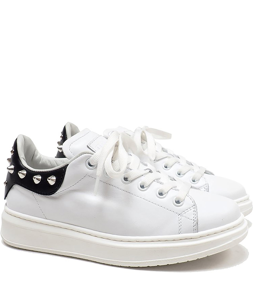 Low-Top Sneakers in Calf Leather with Studs